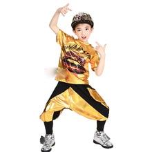 Golden Sequined Boy Girl Hip Hop Dance Wear Mordern Jazz Hip-Hop 2pcs Clothing Set Kids Child Hip Ho