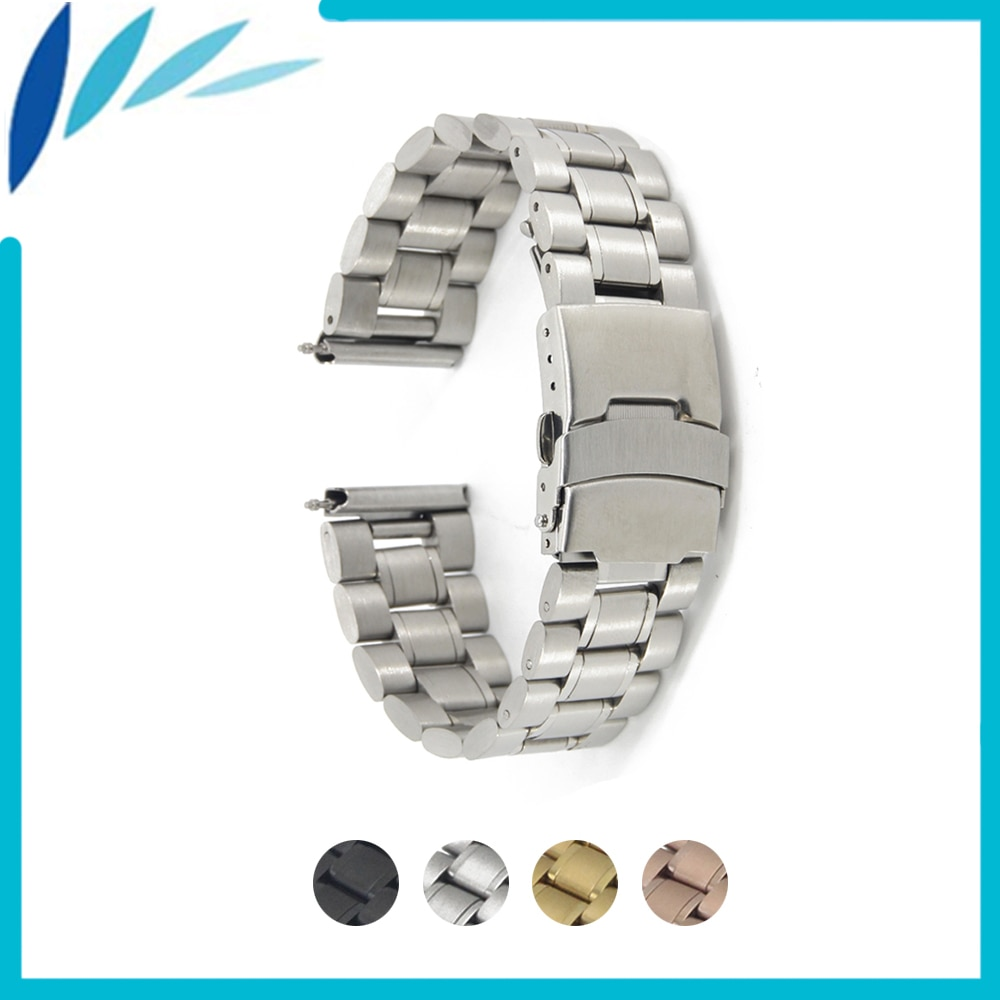 Stainless Steel Watch Band 18mm 20mm 22mm 24mm for Montblanc Men Women Safety Clasp Strap Loop Belt Bracelet Black Gold Silver
