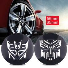 4PCS 56MM/65MM 3D Auto Man Transformers Car Tire Wheel Hub Center Caps Sticker Emblem Badge Car Styling Decoration Accessories