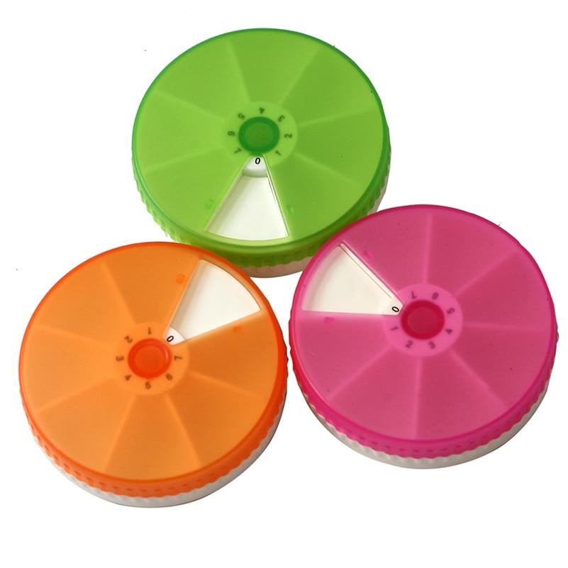 1 Uds plástico 7 ranuras ronda diaria semanal 7 días tableta píldora soporte de medicina píldora artesanal cuentas caja organizador