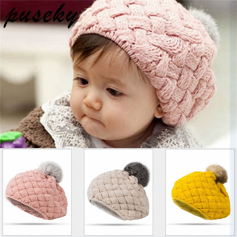 Kids Baby Girl Crochet Knit Knitted Lace Beanie Hat Flower Cute French BERET