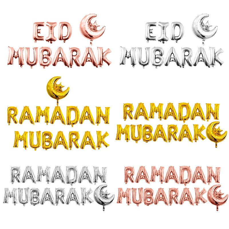 EID Mubarak Rose Gold Letter Balloon Gold Foil Balloons For Muslim Islamic Party Decorations Eid al-firt Ramadan Party Supplies