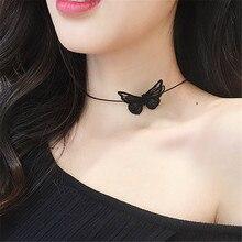 Ajogem blanc/noir dentelle papillon tour de cou breloque collier bijoux femmes accessoires en gros