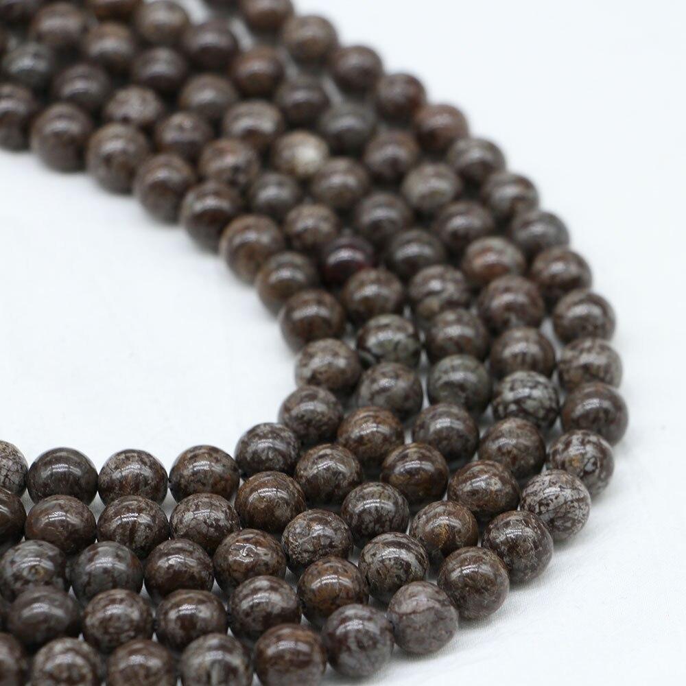 Grânulos soltos redondos do espaçador da pedra 4 6 8 10 12mm do obsidian do floco de neve de brown do grânulo 1strand/lote natural para a jóia que faz a agat natural