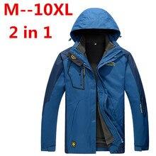 Grande taille 10XL 8XL 6XL 5XL hommes imperméables vestes de vent hommes épaissir 2 en 1 automne hiver veste manteaux hommes marque vêtements