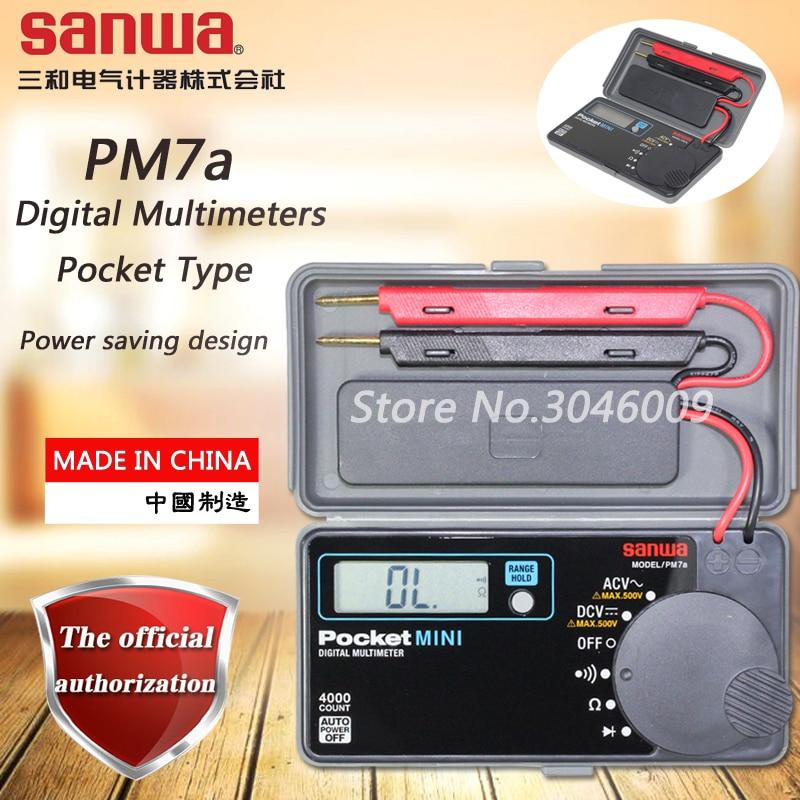 Sanwa-مقياس متعدد رقمي PM7a ، نوع الجيب ، اختبار تلقائي ، مقاومة/تشغيل/الصمام الثنائي