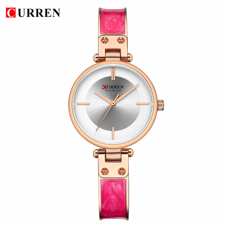 CURREN Brand Womens Dress Watches Pink Strap Ultra-Thin Golden Round Dial Quartz Wristwatch Steel Bangle Bracelet Relogio Clocks enlarge