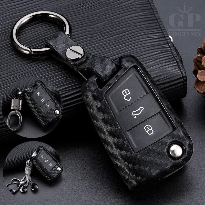 Silicone de fibra carbono caso capa chave do carro chaveiro para volkswagen vw golf 7 vii mk7 gti skoda octavia a7 polo 5 6 estilo do carro novo