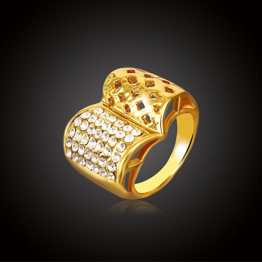 Anillos de boda con cristal a la moda para mujer, Color dorado, forma de libro de poder, hueco para mujeres, Señor del anillo, corona vintage, joyería India