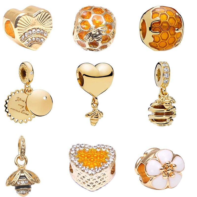 Boosbiy 2 piezas 2018 cuentas de San Valentín corazón Minnie Bees ajuste mujeres Pandora encanto Oro original pulsera y pulsera haciendo mixBD321