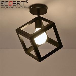 ECOBRT Nordic Style Black Ceiling Lights with E27 Socket Fashionable Iron Restaurant Balcony Study Bedroom Lighting Fixtures