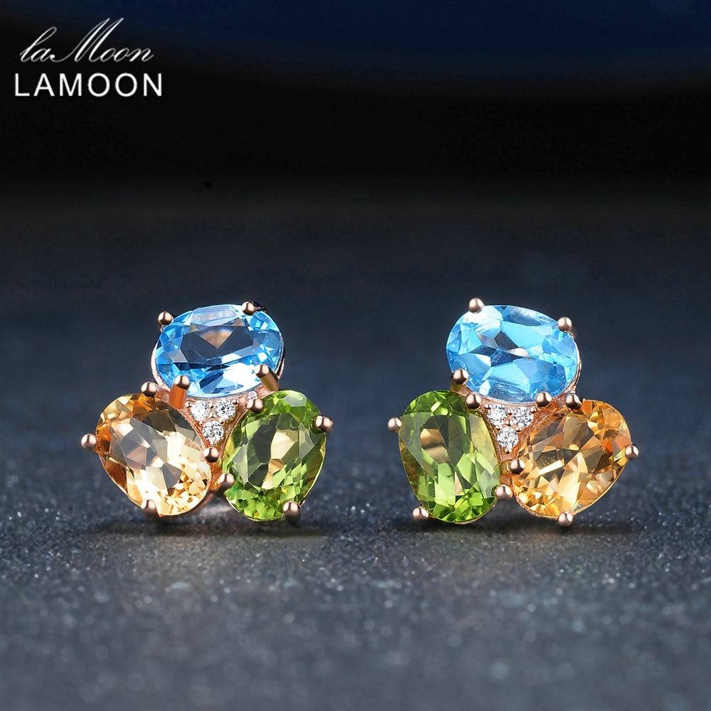 Pendientes de plata de ley 925 LAMOON para mujer, pendiente de piedras preciosas, citrino peridoto Topacio, joyería fina de oro rosa de 18K S925 LMEI037