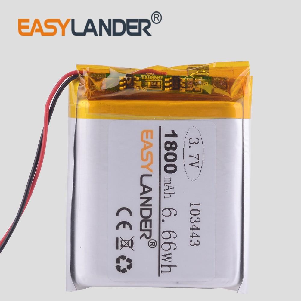 3.7V lithium polymer battery 103443 1800MAH  GPS navigator Radio car dvr radio TD-V26 JH-MD07D