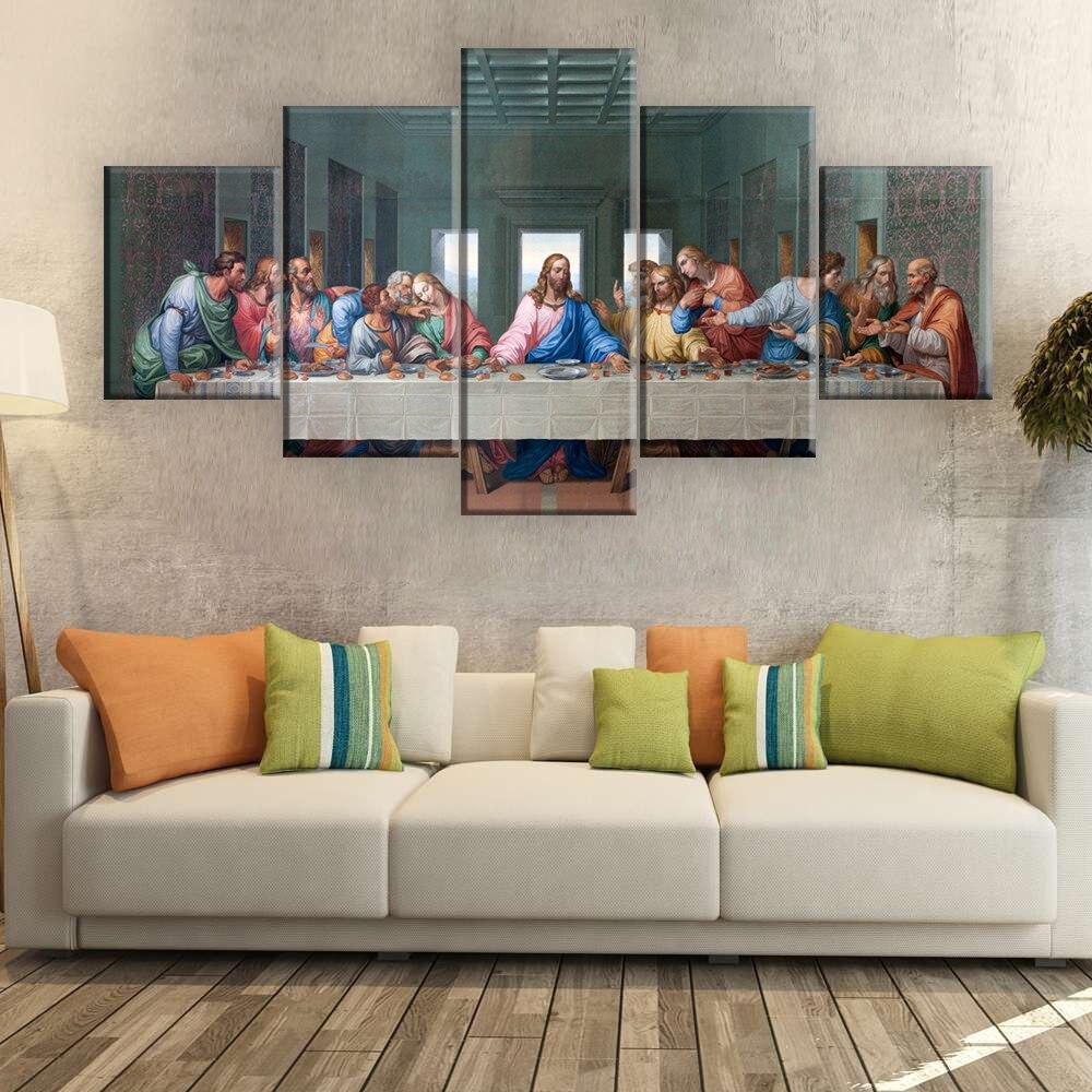 ArtSailing, 5 paneles, impresión HD, pintura al óleo, The Last Supper Leonardo Da Vinci, cuadros de pared cristiana para sala de estar, cocina