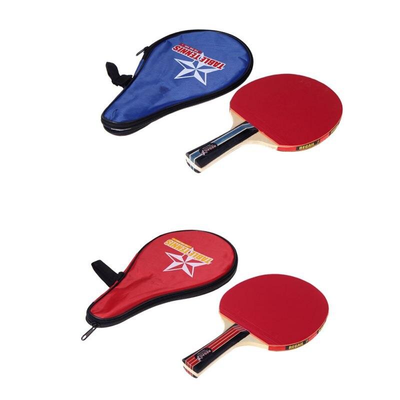 ¡Novedad de 2018! raqueta de tenis de mesa con mango largo, raqueta de Ping Pong, paleta + bolsa impermeable, bolsa roja en interiores