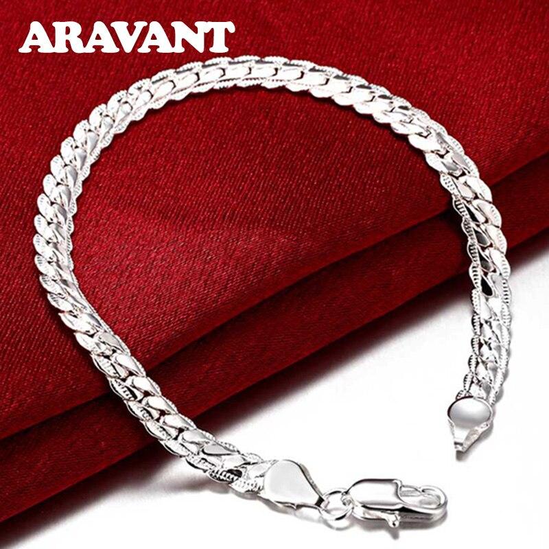 925 Silver 5MM 20CM Sideways Bracelets Men Fashion Bracelet Jewelry Gifts