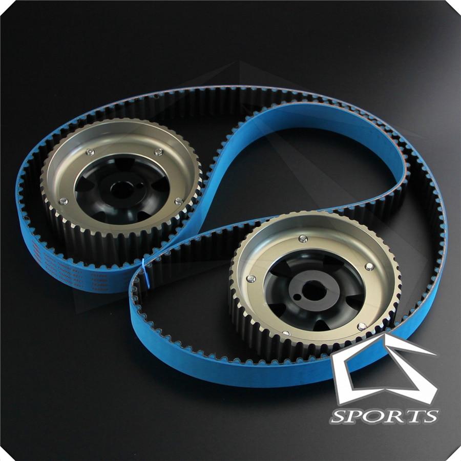 Racing Timing Belt + Adjustable Cam Gear Shaft Fits For 86-93 Toyota Corolla MR2   Black/Blue