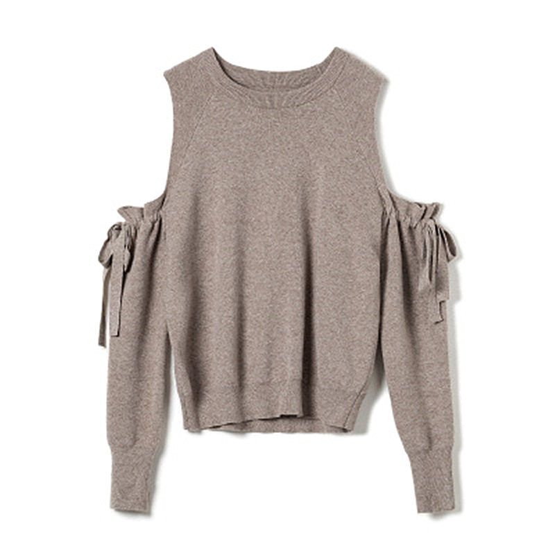 Spring New Loose Slim Fashion Sweater Women's Off-the-shoulder Bow Temperament Knit Bottoming Sweater Female Round Neck Trend enlarge