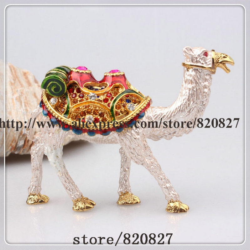 Camel joyería con cristales anilla con abalorio caja enjoyada CamelJewelry caja camello de desierto coleccionable con bisagras baratija