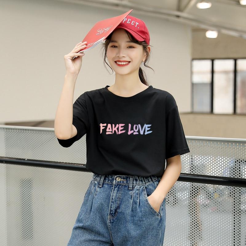 Harajuku, camiseta de verano para mujer, moda coreana, Kpop, falso estampado de carta de amor, camiseta, Streetwear, Casual, femenino, Tumblr, Ulzzang, Tops, camiseta