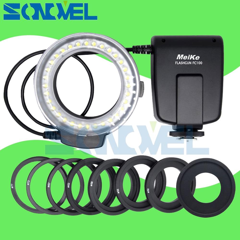 Meike FC-100 FC100 LED Macro anillo luz de Flash para Nikon D4s D5 D3x D500 D600 D800 D810 D750 D3200 D3400 D5600 D5300 D7500 D7200