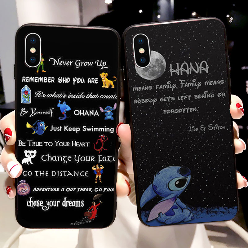 Lilo Stitch чехол Ohana Мягкий силиконовый чехол для телефона iPhone 11 Pro X 5 S 5S XR XS Max 6 6S 7 8 Plus чехол Fundas Capinha Coque