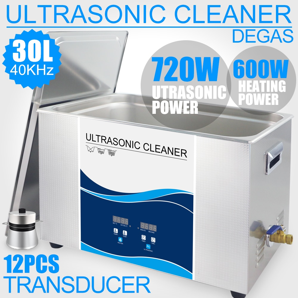 Orginal Digital Ultrasonic Cleaner 30L 7Gal 720W Ultrasonic Washer Tank Lab Mold Oil Hardware Cleaning Bath industrial 88l ultrasonic cleaner generator engine oil auto car parts motherboard hardware washer heated bath equipment