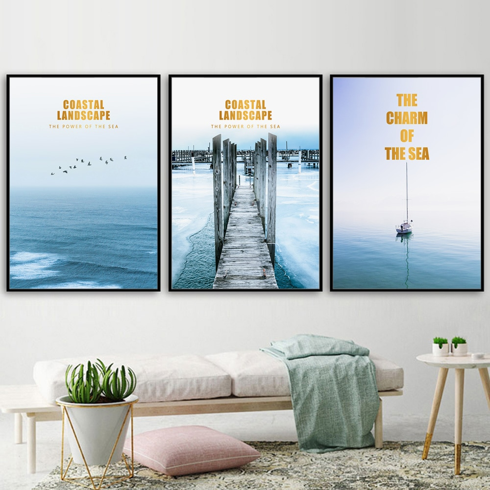 Mar costero Playa flotante Dock paisaje cuadro sobre lienzo para pared carteles nórdicos e impresiones cuadros de pared para decoración para sala de estar