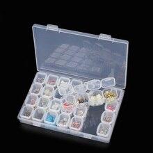 28 Slots Nail Art Storage Box Adjustable Plastic Transparent  Display Case Organizer Holder For Rhinestone Beads Ring Earrings