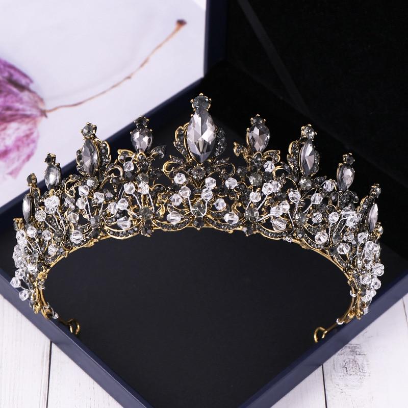 DIEZI Baroque Bride Black Stone White Crystal Crowns Tiara Bridal Diadem Queen Crown For Wedding 2019 Headband Hair Accessories