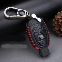 3 button genuine pu leather remote key bag case fob holder chain for benz series