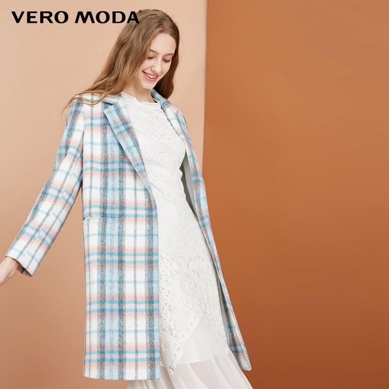 Vero Moda 50% wool plaid decorative pocket coat wool coat   318327515
