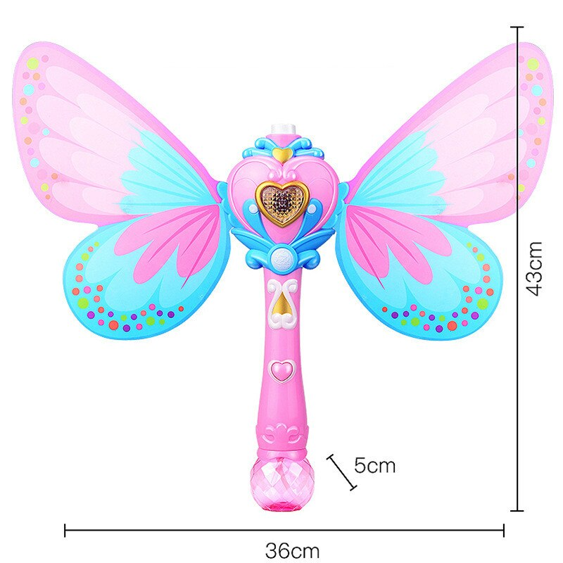 Electric Magic Wing Wand Automatic Soap Bubble Blowing Gun Blower Machine Light Music Funny Outdoor Girls Toys For Kids Gifts  - buy with discount