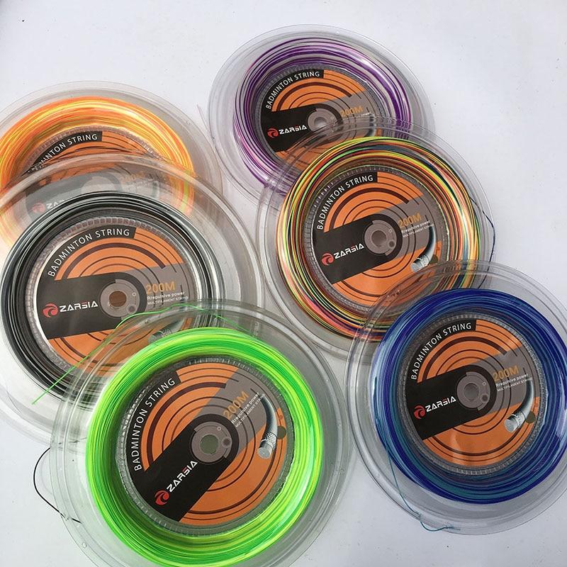 ZARSIA 1 carrete 200 brazalete grande 0,7mm Arco Iris Badminton cuerdas tensión 28.lbs 6 colores