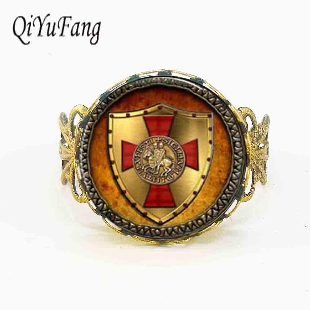 Кольцо тамплиера QiYuFang, кольцо тамплиера, украшения из стекла, кабошон, 1 шт./лот, регулируемые стальные и бронзовые винтажные кольца в стиле стимпанк для мужчин