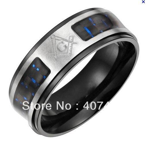 Anillo de regalo de aniversario anillo masónico 8MM 316 acero inoxidable negro y pulido dos tonos con incrustación de fibra azul anillo maestro masónico