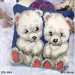 Fronha bordados Tapeçaria Kit Tapete do Gancho da Trava Kits Animal Travesseiro DIY Fronha Bordados Crochet Gancho Needlework Kits Urso