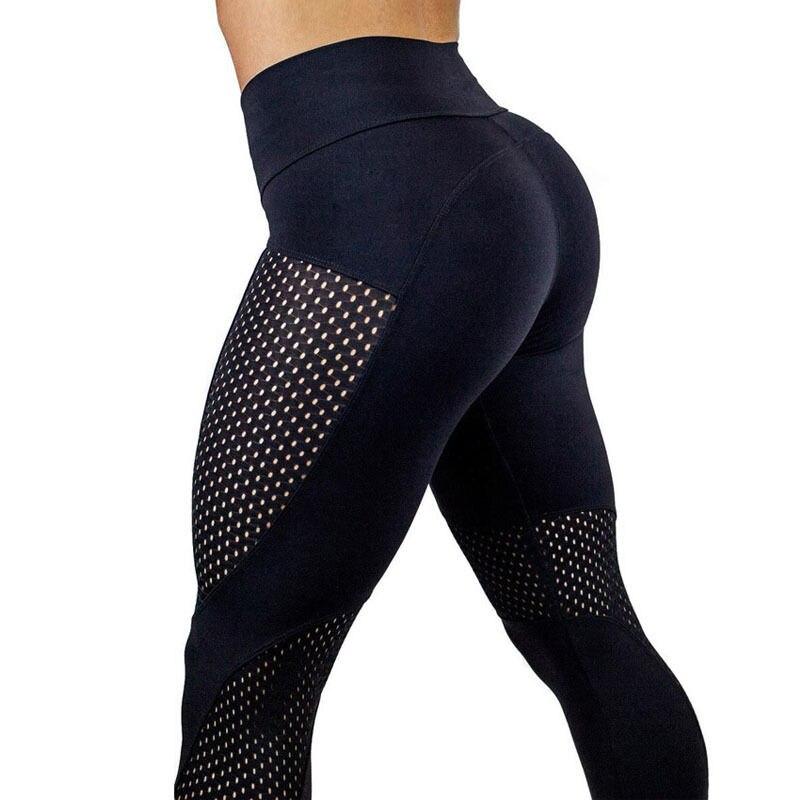 Moda mujer caliente de cintura alta pantalones de gimnasia Yoga Fitness deporte Patchwork Jogging polainas, pantalones de Yoga