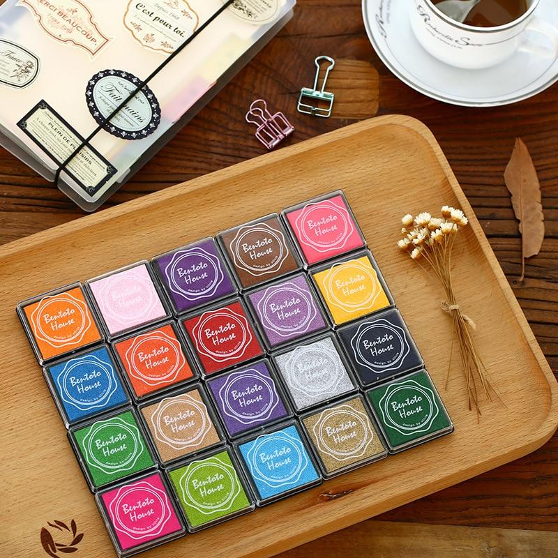 20 colors mini Ink Pad Scrapbooking Colorful Inkpad Stamp Sealing Decoration Fingerprint Stencil Card Making DIY Crafts