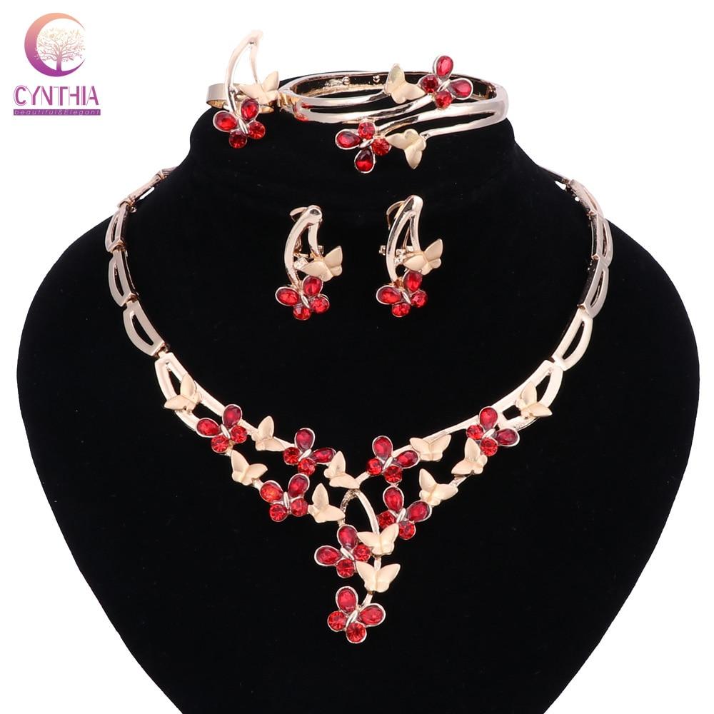 Conjunto de joyería de cuentas africanas de boda nigeriana, collar de mariposa con diamantes de imitación rojos, pendientes, anillo, pulsera, conjunto para vestido de fiesta de mujer