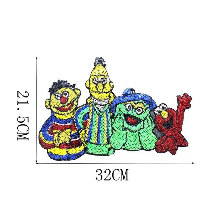 Recién llegado, parche de dibujos animados Elmo con lentejuelas para ropa, lentejuelas para manualidades, títeres de sésamo, apliques bordados, Patchwork de costura grande
