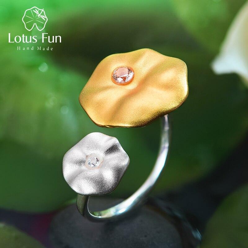 Lotus fun real 925 prata esterlina natural pedra preciosa artesanal designer de jóias finas manhã orvalho em folhas de lótus anéis para mulher