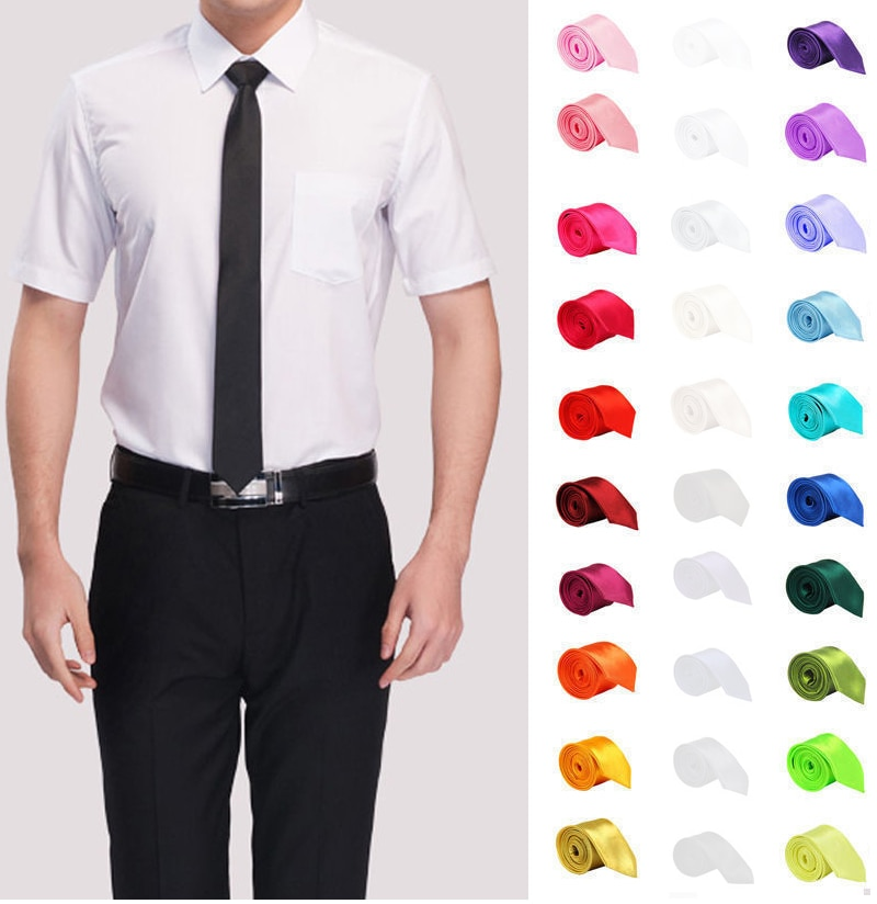 Tie for Men Slim Tie Solid color Necktie Polyester Narrow Cravat 5cm width 35 colors Royal Blue Gold Party Formal Ties Fashion