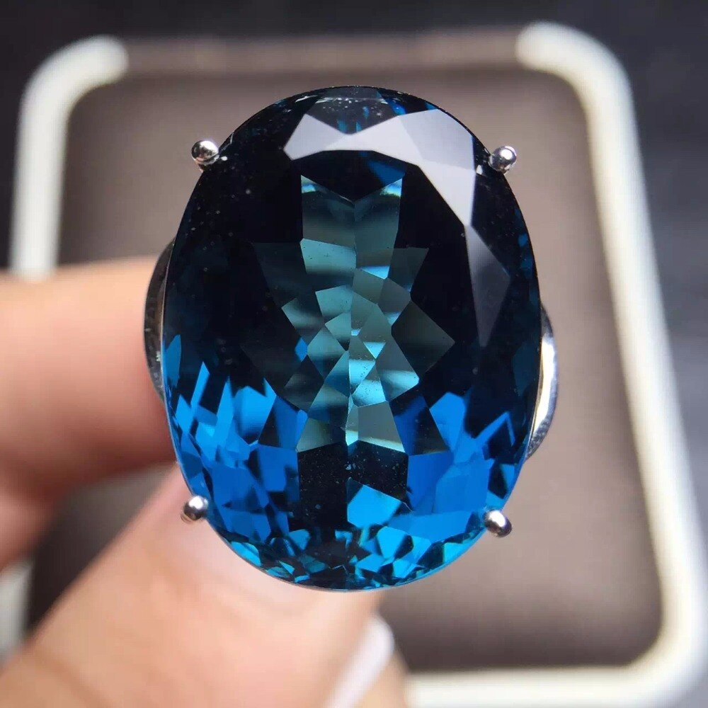 Joyería Fina Real 18K oro rosa AU750 100% Natural Londres Topacio Azul piedras preciosas anillos femeninos para mujeres anillo fino