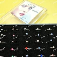 400Pcs 10Sets Whole Crystal Nose Rings Studs Jewelry Nice Body Pierce Bullring + Display Box Free Shipping RL312
