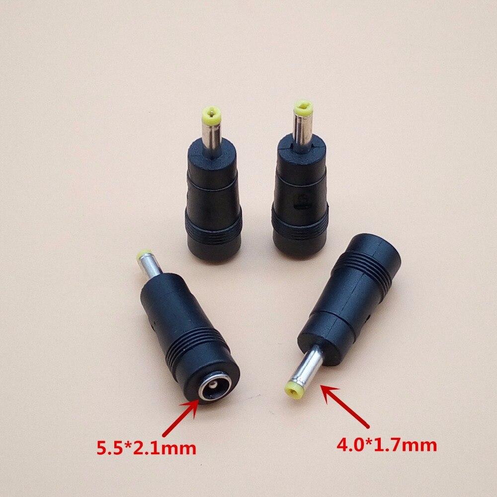 2 pçs/lote DC Plug 5.5x2.1mm Feminino para 4.0x1.7mm Masculino Conector de Alimentação DC Laptop Adaptador