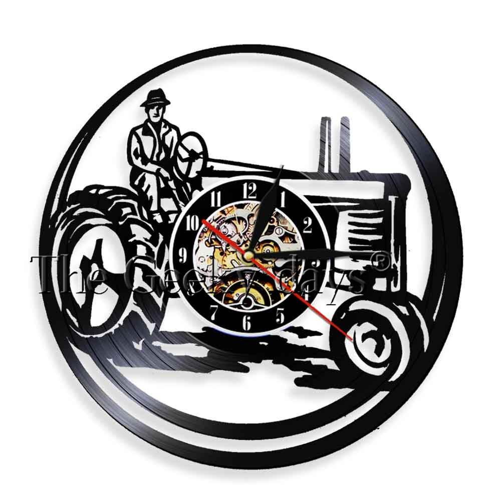 1 peça agricultor no trator luzes led trator fazenda personalizado relógio de parede do vintage vinil record clock decorativo cropper gif