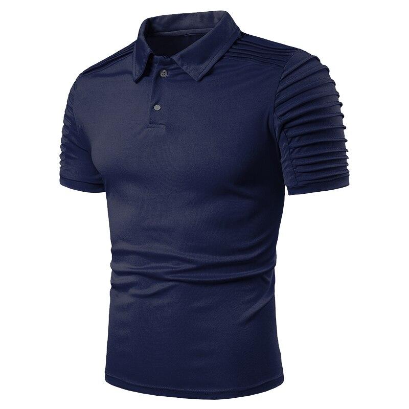 Camiseta Polo para hombre ropa informal estilo hip hop cuello redondo ajustado sólido corto manga Polo Fitness raya plisada manga raglán Camiseta polo tops