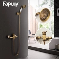 fapully antique brass shower faucets set with rainfall shower single handle mixer tap swivel tub spout bath shower hs127 55a 01