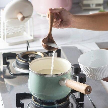 16 سنتيمتر الخزف بالمينا الحليب وعاء 1.7L الطبخ غير عصا البسيطة الحساء وعاء مع غطاء التعريفي طباخ الغاز موقد ينطبق تجهيزات المطابخ